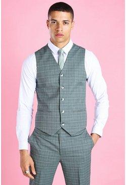Green Skinny Windowpane Check Suit Waistcoat