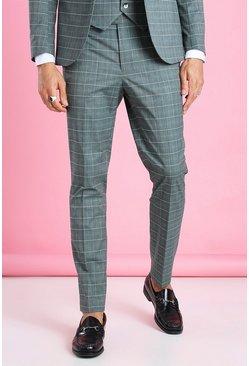 Green Skinny Windowpane Check Suit Trouser