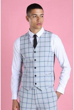 Light blue Super Skinny Windowpane Check Suit Waistcoat