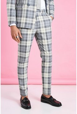 Ecru Skinny Check Suit Pants