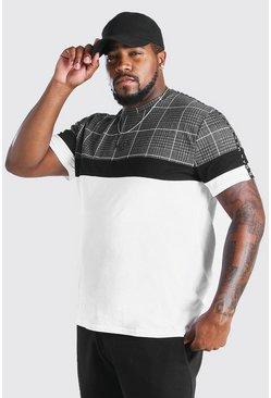 White Big And Tall MAN Roman Jacquard Panel T-Shirt