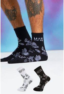 Multi Quavo 2 Pack Graffiti Print Sock