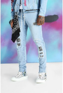 Blue Quavo Skinny Rigid Jean With Bandana Detail