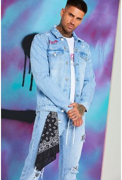 Blue Quavo Denim Jacket With Huncho Print