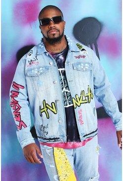Blue Big And Tall Quavo Denim Jacket With Graffiti