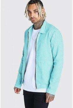 Turquoise Wool Look Houndstooth Harrington Jacket