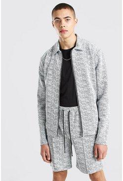 White Boucle Wool Look Harrington Jacket