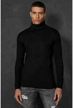 Black Ribbed Roll Neck Sweater