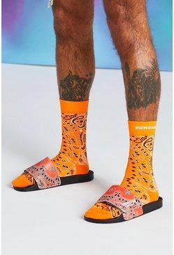 Orange Quavo Bandana Print Slider