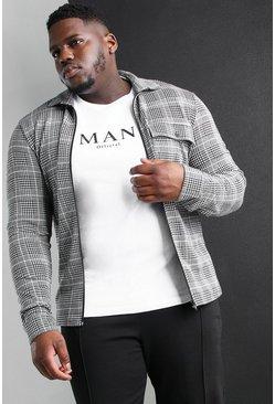 Black Big And Tall Jacquard Utility Coach Shirt Jacket