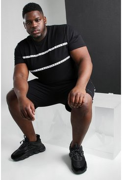 Black Big And Tall MAN Roman Tape T-Shirt Short Set