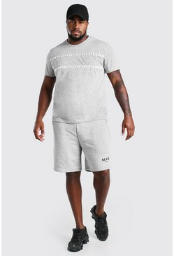 Grey Big And Tall MAN Roman Tape T-Shirt Short Set