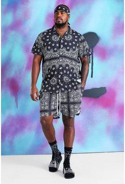 Black Big & Tall Quavo Bandana Shirt & Short Set