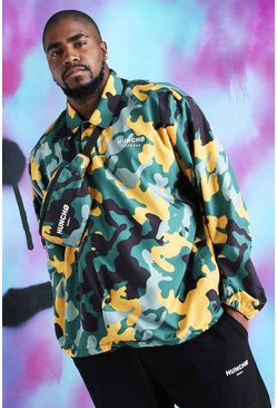 Yellow Big And Tall Quavo Camo Print Coach Jacket