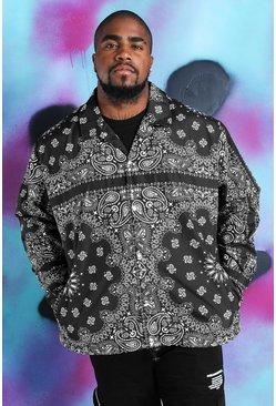 Black Big And Tall Quavo Bandana Print Coach Jacket