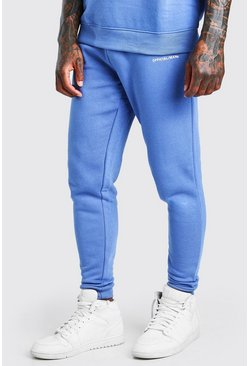 Blue Official Man Print Jogger