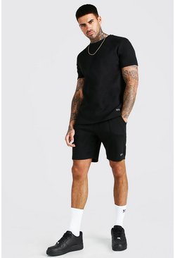 Black Scuba T-Shirt & Pintuck Short With MAN Embroidery