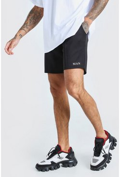 Black MAN Scuba Pintuck Short With Panels