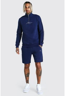 Navy MAN Signature Half Zip Tape Short Tracksuit