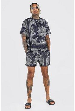 Black Loose Fit T-Shirt & Bandana Print Swim Short