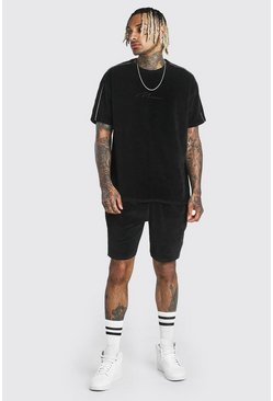 Black MAN Signature Towelling T-Shirt & Short Set