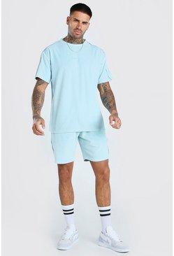 Light blue MAN Signature Towelling T-Shirt & Short Set