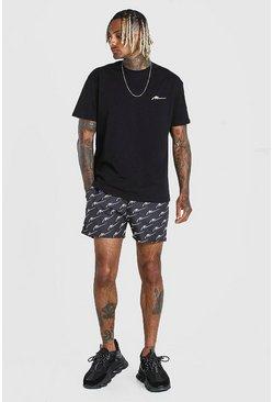 Black Loose Fit T-Shirt & All Over MAN Print Swim Short
