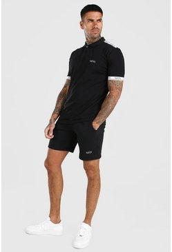 Black Original MAN Tape Polo & Short Set