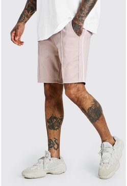 Dusky pink MAN Signature Tricot Pintuck Shorts With Tape