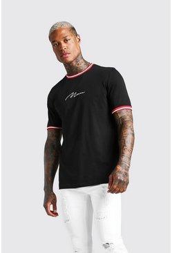 Black MAN Signature T-Shirt With Sports Rib Neck & Cuff