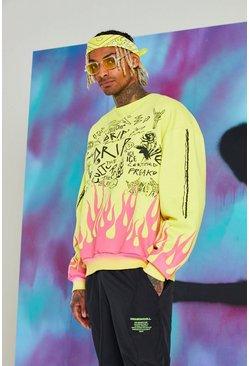 Yellow Quavo Graffiti Print Flame Sweater