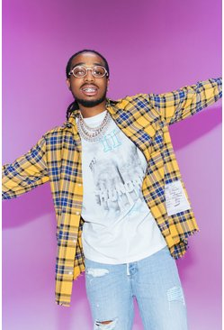 White Quavo Oversized T-Shirt With Fingers Print