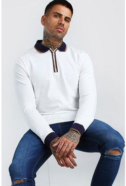 Ecru Long Sleeved Pique Zip Polo With Tipping