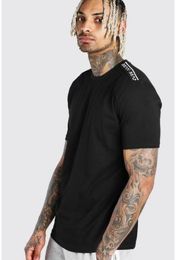 Black MAN T-Shirt With Tape Detail