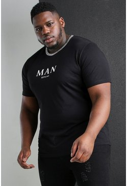Black Plus Size MAN Roman Jacquard Neck T-Shirt
