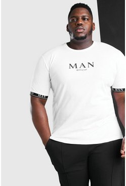 White Plus Size MAN Roman Cuff Tape T-Shirt