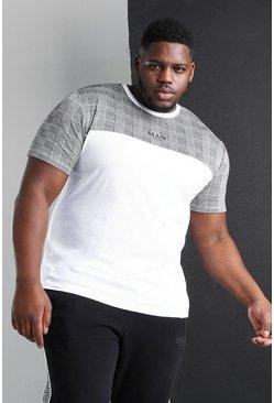 White Big And Tall MAN Roman Colour Block T-Shirt