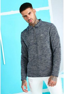 Navy Smart Jacquard Long Sleeve Zip Polo