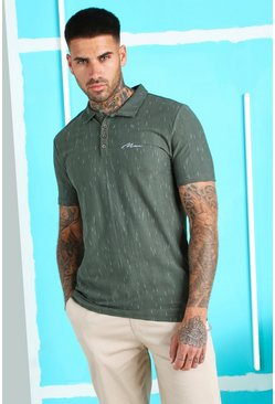 Khaki MAN Signature Muscle Fit Textured Polo