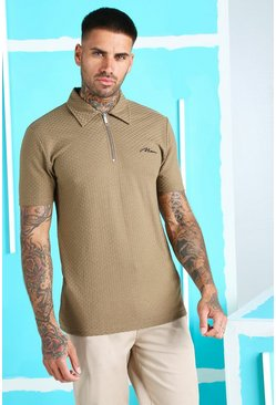 Camel Muscle Fit MAN Signature Jacquard Zip Polo