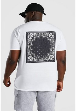 White Big And Tall MAN Bandana Back Print T-Shirt