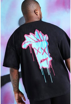 Black Big And Tall Quavo Oversized Drip Face T-Shirt