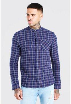 Navy Long Sleeve Grandad Collar Check Shirt
