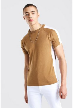 Camel Colour Block Knitted T-Shirt