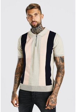 Taupe Colour Block Knitted Half Zip Polo
