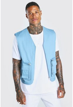 Blue Twill Utility Vest