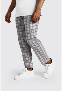 Grey Tapered Fit Cropped Check Smart Pants