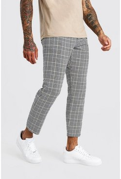Black Slim Fit Cropped Check Smart Trousers