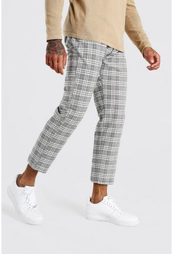 Stone Slim Fit Cropped Check Smart Trouser With Pleats