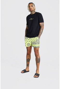 Yellow MAN Signature T-Shirt & Bandana Swim Short Set